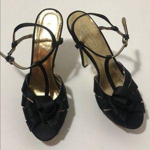 Coach black satin platform heels